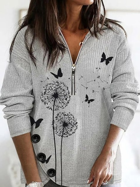 Animal Print V-Neck Casual Sweaters