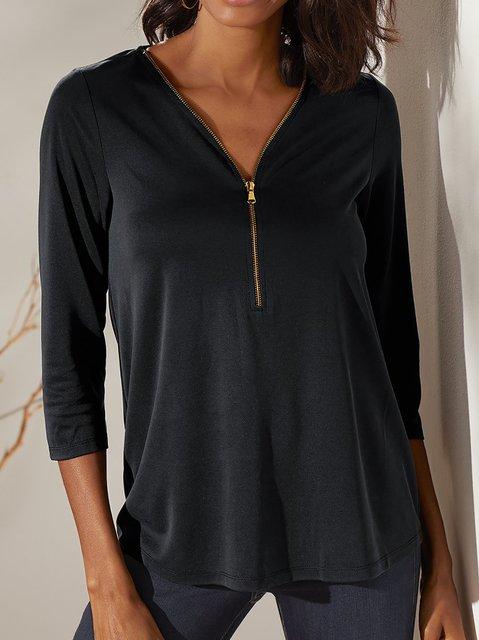 Women's Solid Shift Casual Long Sleeve Shirts