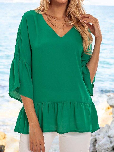 Lightgreen Bell Sleeve Plain Paneled Shirts & Tops