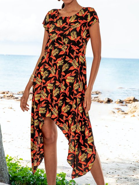 Orange High Low Short Sleeve Floral-Print Dresses