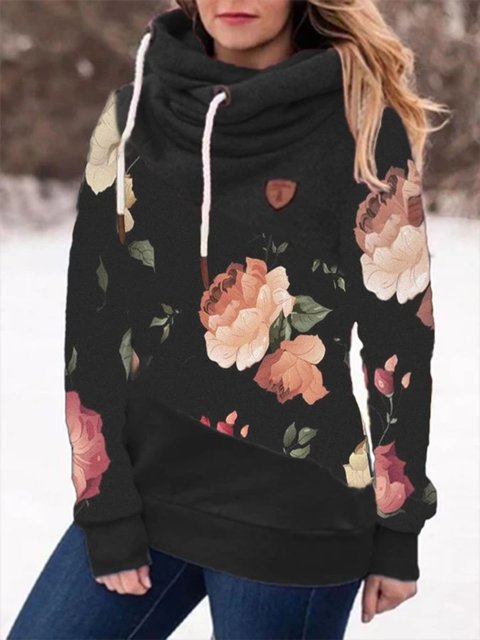 Black Long Sleeve Hoodie Floral Sweatshirt