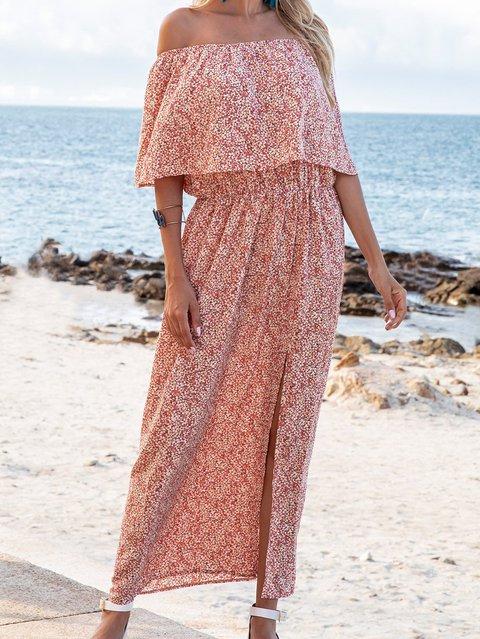 Pink Floral Cold Shoulder Boho Dresses