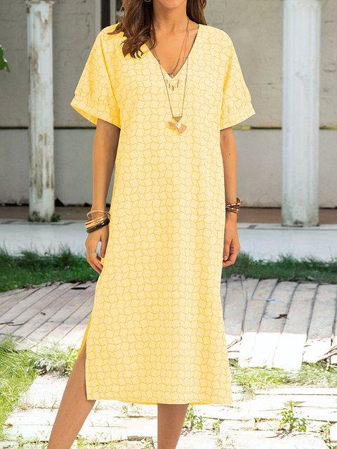 Yellow Short Sleeve Cotton V Neck Dresses