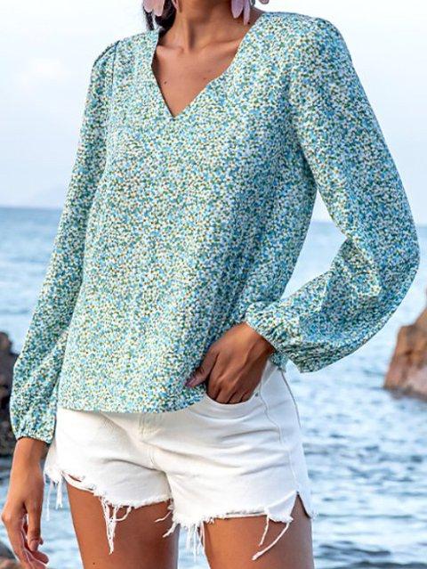 Blue Boho Cotton Long Sleeve Vacation Shirts & Tops