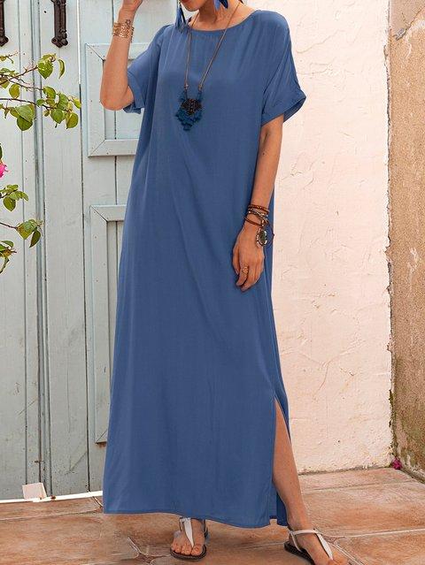 Blue Shift Plain Short Sleeve Dresses