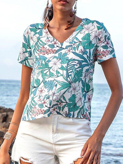 White V Neck Shift Floral Holiday Shirts & Tops