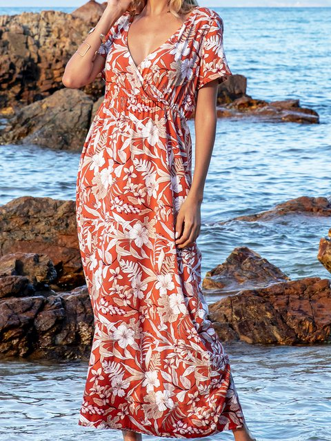 Red Paneled Short Sleeve A-Line Floral Maxi Dresses