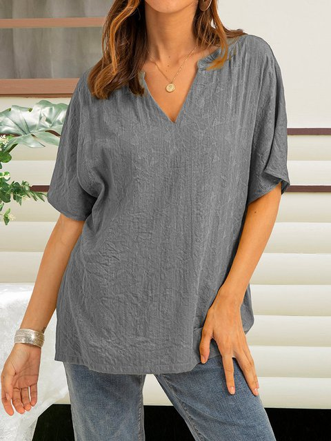 Black-Grey Cotton-Blend Casual Shirts & Tops