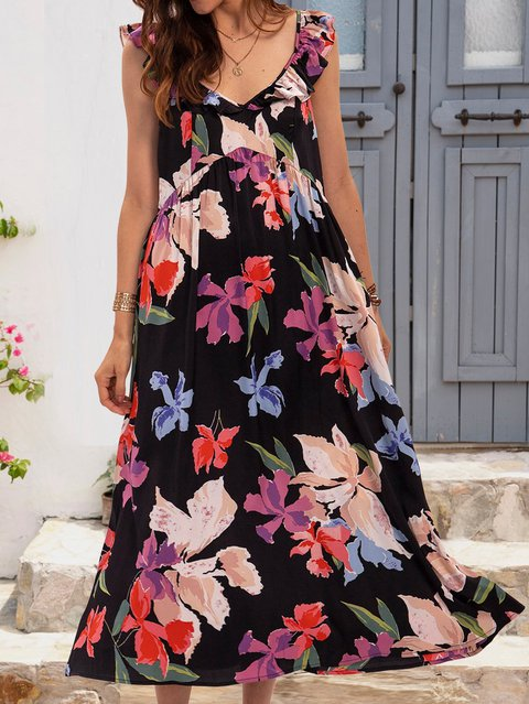 Black Floral V Neck Short Sleeve Floral-Print Dresses