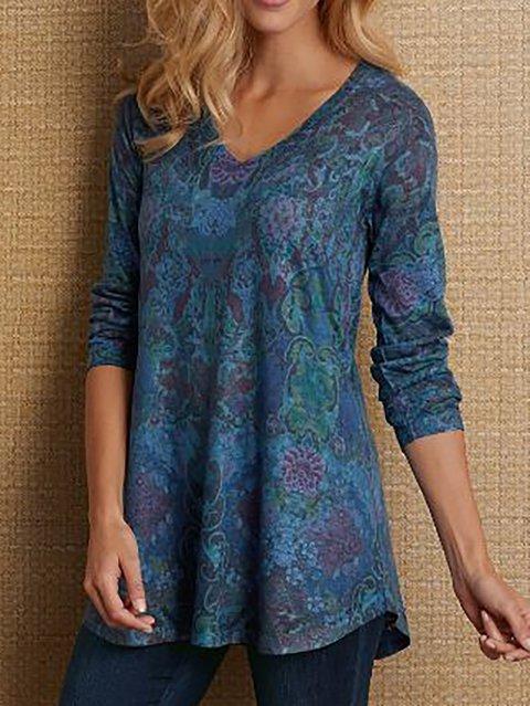Women's Cotton-Blend Floral-Print Tribal Long Sleeve Shirts