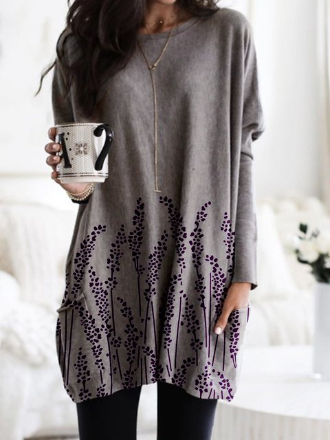 New Women Fashion Plus Size Vintage Casual Long Sleeve Shift Crew Neck Shirts & Tops