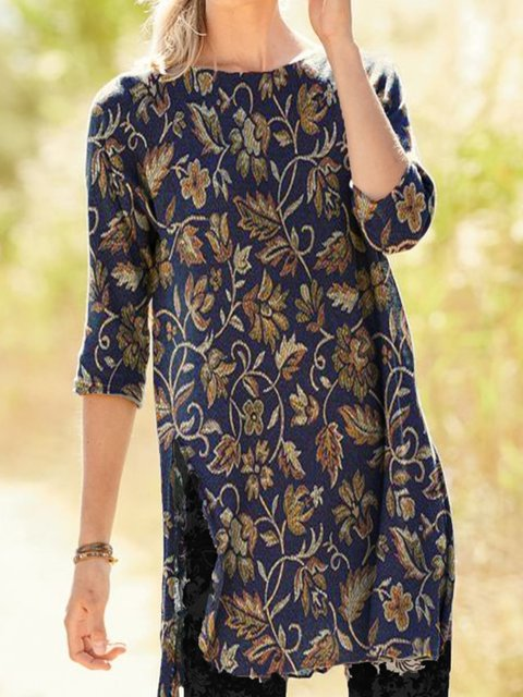 Printed Cotton Round Neck Shirts & Tops