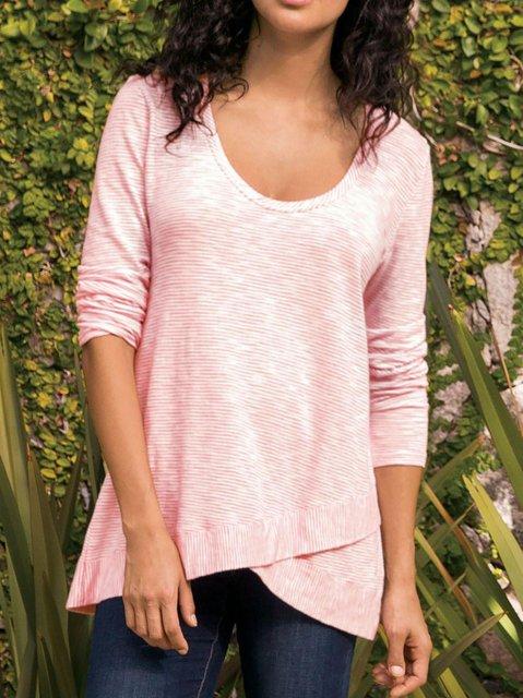 Women's Round Neck Casual Cotton-Blend Shirts