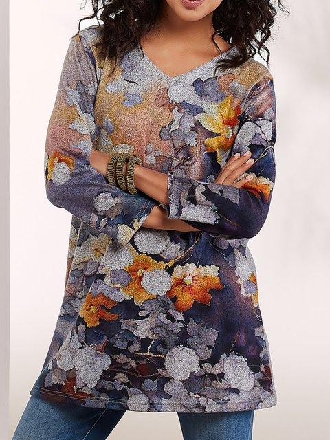 Women's V Neck Basic Floral Long Sleeve Shirts