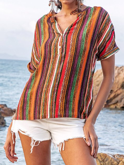 Orange Short Sleeve Striped Shirts & Tops