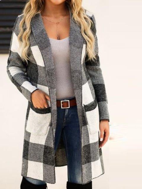Long Sleeve Shawl Collar Checkered/plaid Outerwear