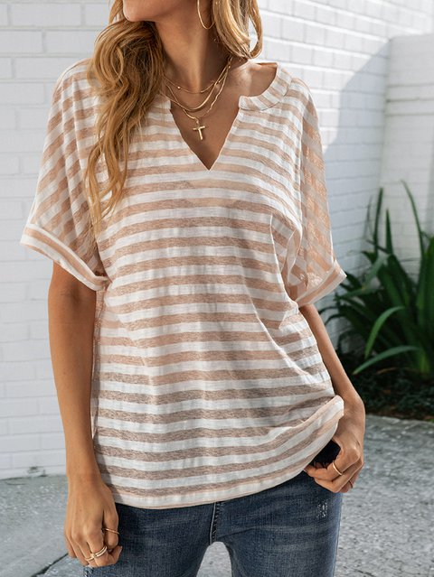 Meat Powder Shift Short Sleeve Striped Cotton Shirts & Tops