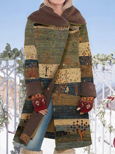 Vintage Tree Print Button Long Sleeve Woolen Coat