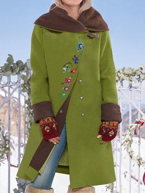 Vintage Floral Print Button Long Sleeve Woolen Coat