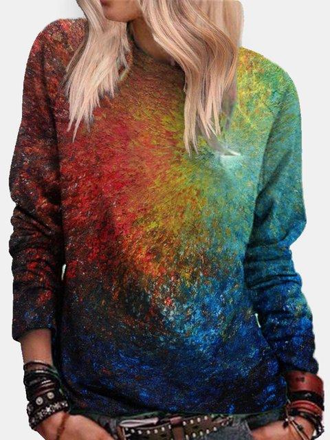 Tie-dye Long Sleeve O-neck Casual Sweatshirt