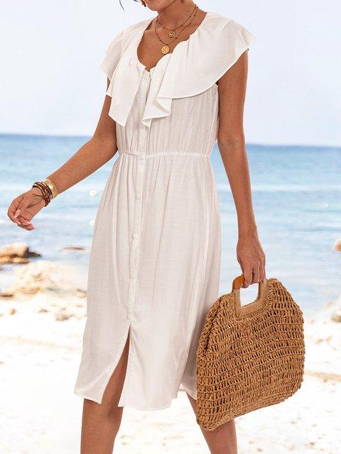 Off White Plain V Neck Short Sleeve Paneled Dresses