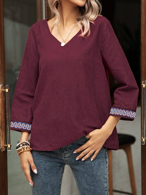 Red V Neck Holiday Cotton-Blend Shirts & Tops