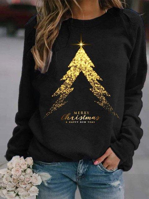 Women's Merry Christmas A Happy New Year Printed Long Sleeve Sweatshirt