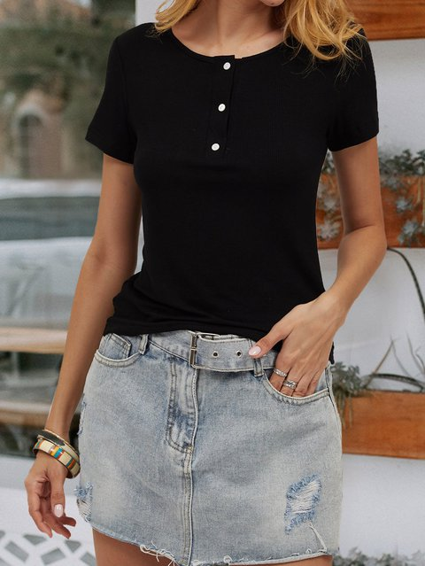 Black Solid Casual V Neck Shirts & Tops