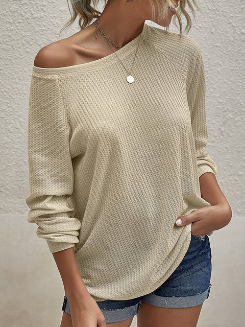 Solid Color Round-neck Long Sleeve Casual Knitted Sweater
