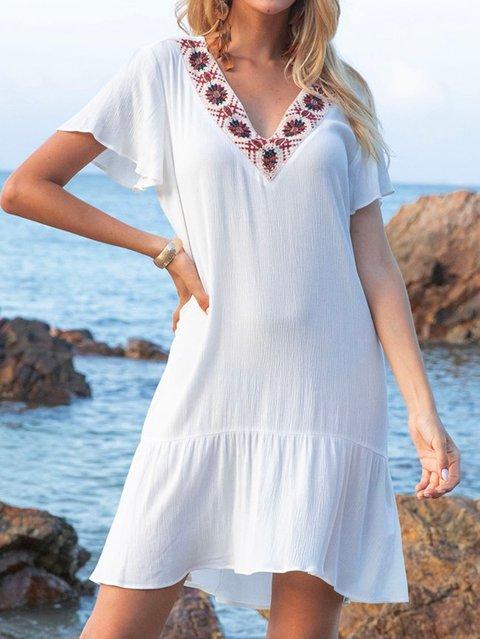 White V Neck Solid Short Sleeve A-Line Dresses