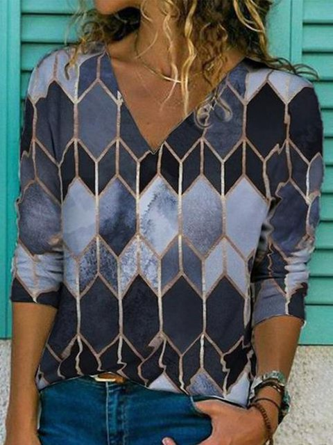 Cotton-Blend Printed V Neck Sexy Shirts & Tops
