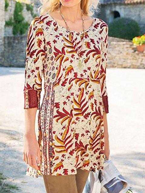 Women's Cotton-Blend Long Sleeve Shift Casual Shirts