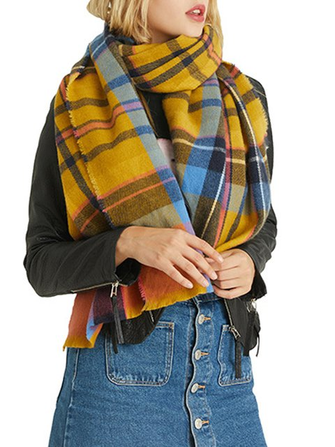 Check cashmere casual retro fringed scarf