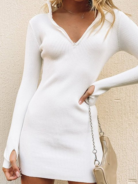 Solid Long Sleeve Casual Stand Collar Zipper Dresses