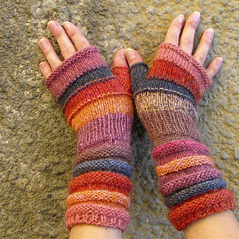 Outlander Inspired fashion accessories for Women Gift for Lady knit wool fingerless gloves Unmatched Hand Knit Striped