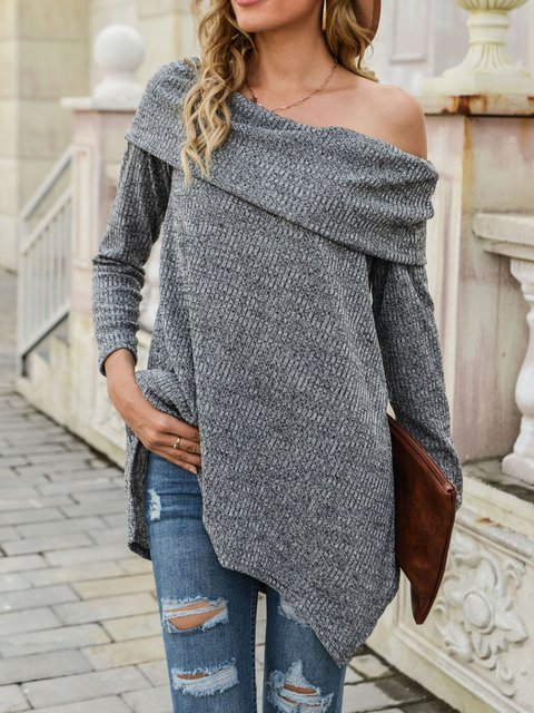 Autumn Winter Open-Neck Irregular Hemline Sweater