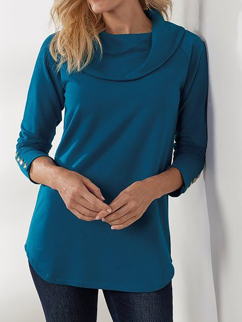 Women's Solid Long Sleeve Shift Cowl Neck Shirts