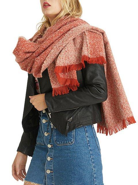 Orange fringed cashmere shawl warm long scarf