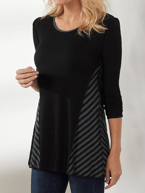 Women's Long Sleeve Round Neck Shift Shirts