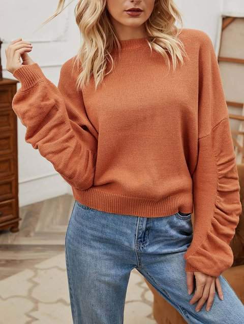 Cashmere Solid Casual Crew Neck Sweater