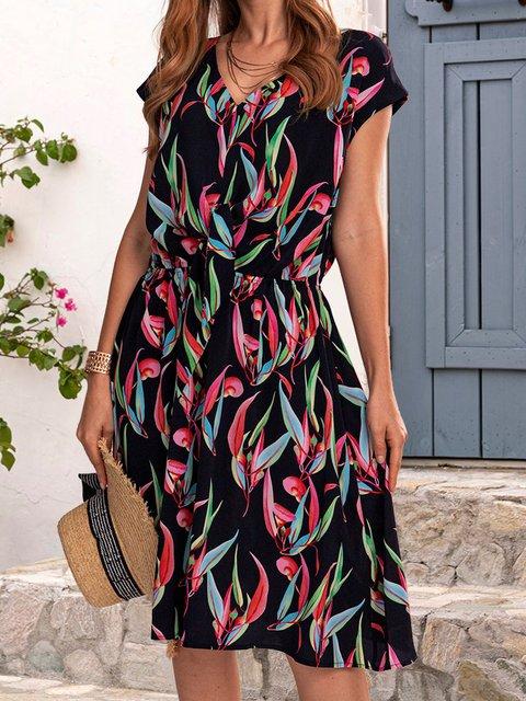 Black Cotton-Blend Short Sleeve Dresses