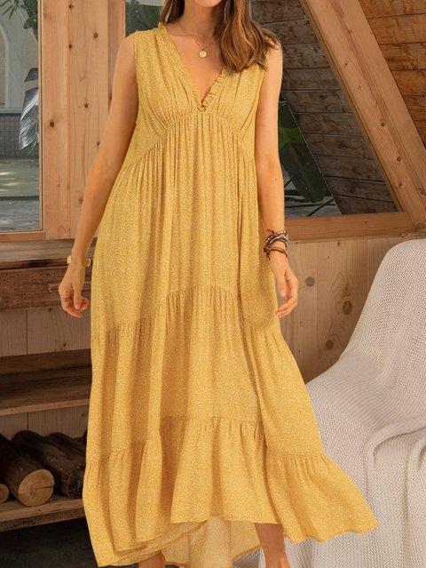 Yellow Printed Sleeveless Dresses