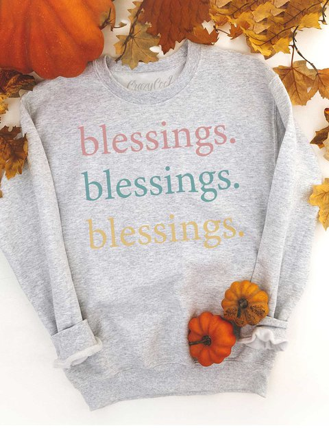 Thanksgiving Blessings Blessings Blessings Crew Neck Cotton-Blend Casual Sweatshirt