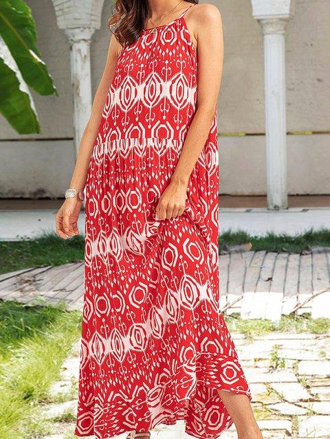 Coffee Sleeveless Boho Floral A-Line Dresses