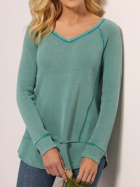 Women's Long Sleeve Cotton-Blend Solid Shift Shirts