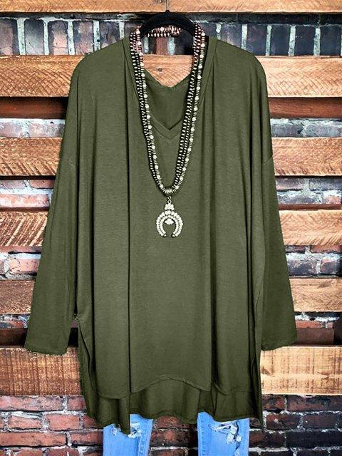 Raglan Sleeve Solid Color V-neck Casual Tunic Tops