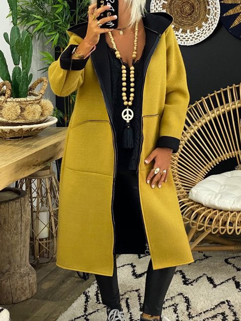Cotton-Blend Long Sleeve Hoodie Shift Outerwear