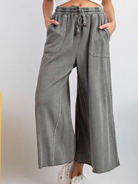 Solid Loose Knit Wide Leg Sweatpants
