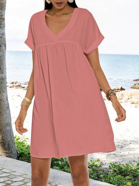 Pink V Neck Cotton Short Sleeve Dresses