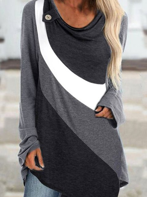 Casual Shift Long Sleeve Cotton-Blend Sweatshirt